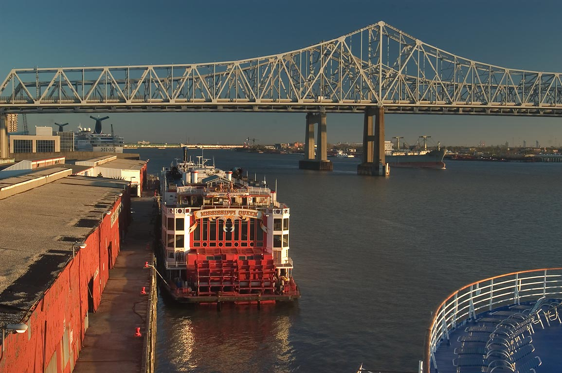 "Robin St. Wharf and a ship ""Mississippi Queen...Princess"". New Orleans, Louisiana"