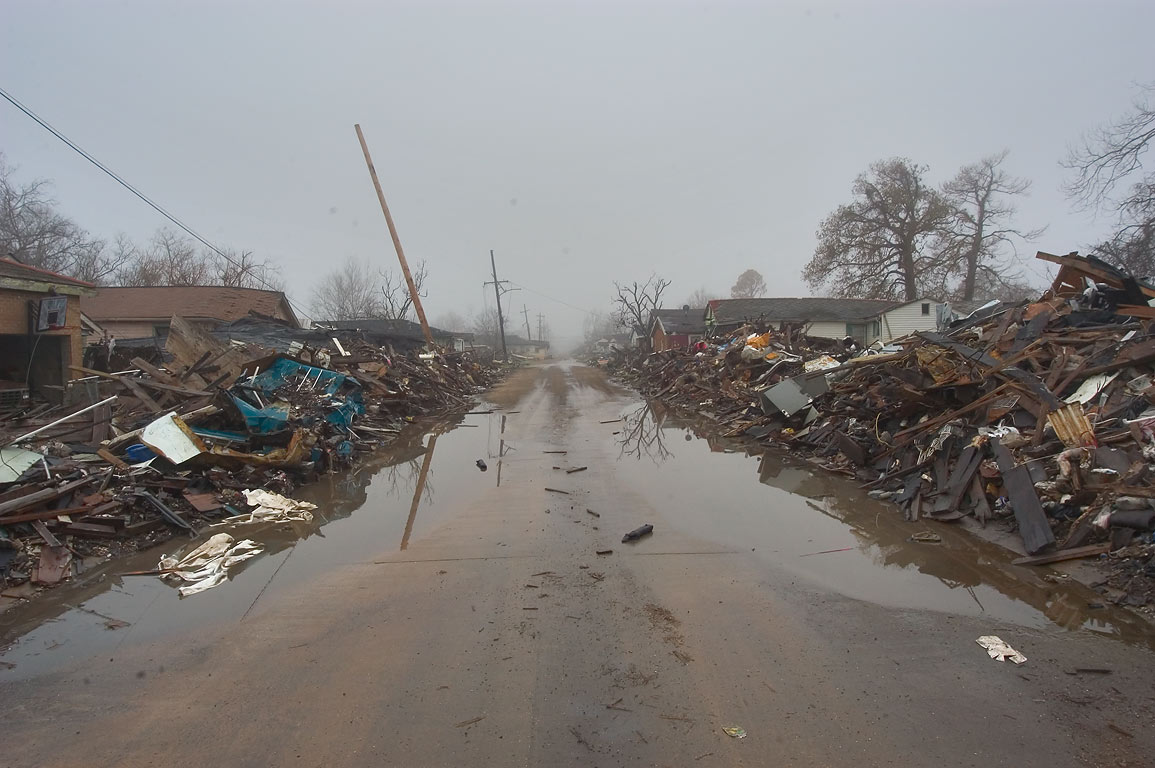 Cleaned Forstall Street in Lower Ninth Ward in mist at morning. New Orleans, Louisiana