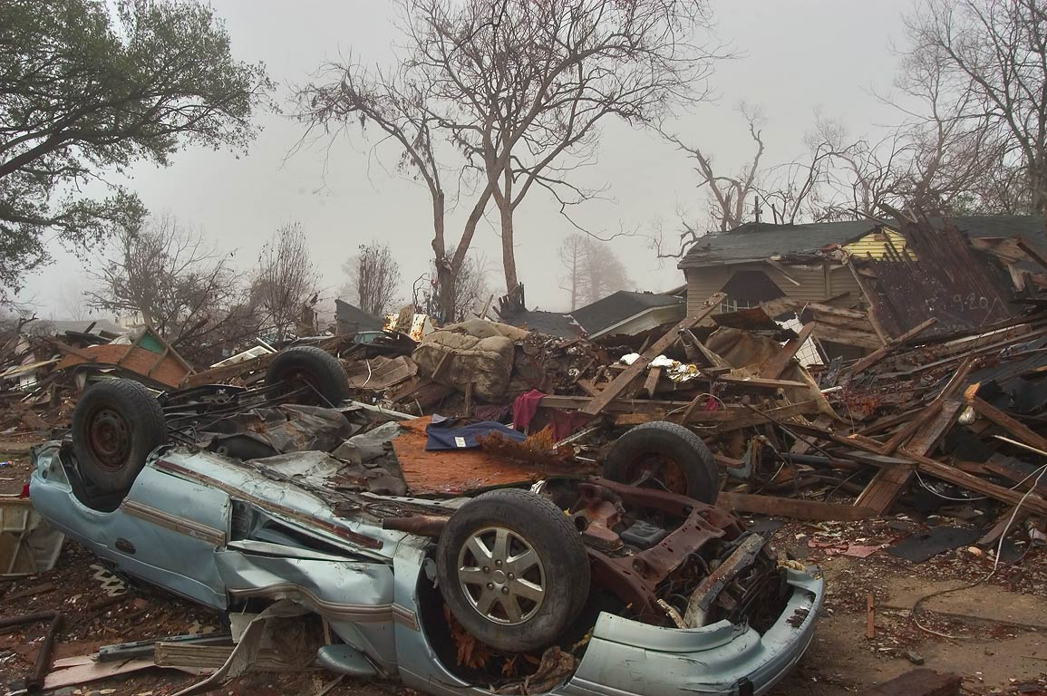 Ruins near North Tonti St. in Lower Ninth Ward in fog at morning. New Orleans, Louisiana