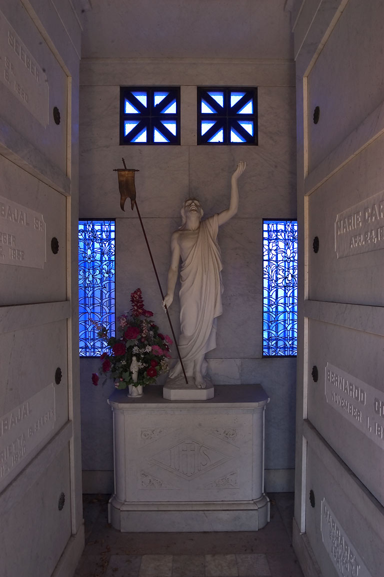 Interior of a marble crypt of B. G. Carbajal in Metairie Cemetery. New Orleans, Louisiana