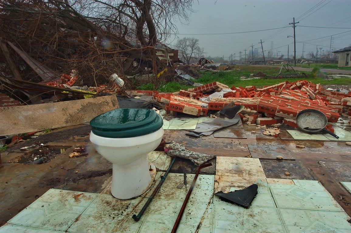 Remains of a bathroom of a floated away brick...Ninth Ward. New Orleans, Louisiana