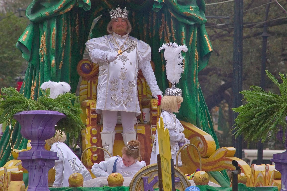 Krewe of King Arthur parade at Mardi Gras...District. New Orleans, Louisiana