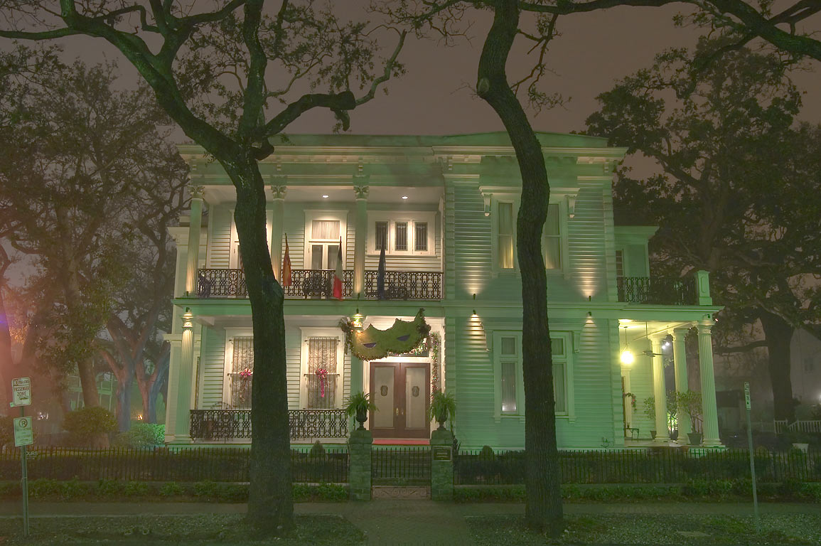 Van Benthuysen-Elms Mansion (c. 1869) at 3029 St...Ave. at night. New Orleans, Louisiana
