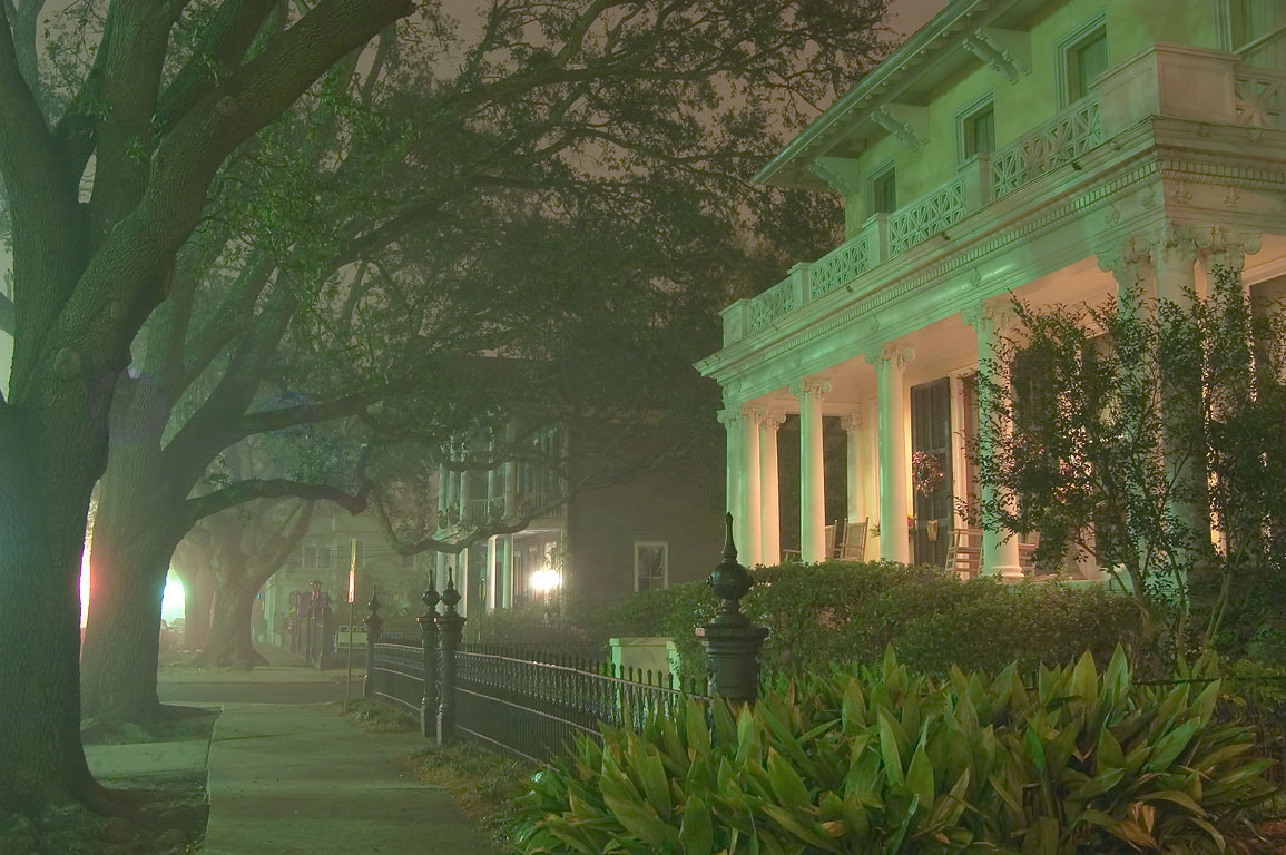 A sidewalk in fog near Hassinger, Blaffer Woods...Ave. at night. New Orleans, Louisiana