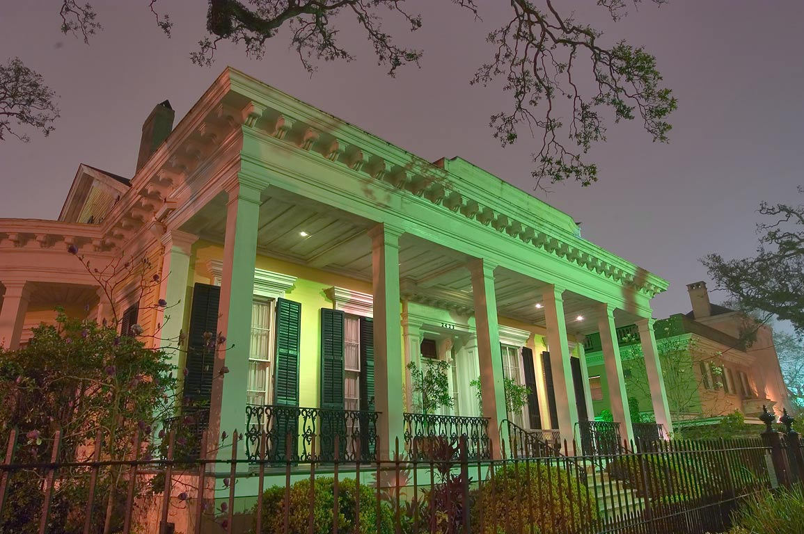 Adams-Jones House (1860-1861) at 2423 Prytania St...at night. New Orleans, Louisiana