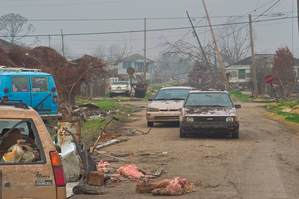 Abandoned cars on Law Street in Lower Ninth Ward. New Orleans, Louisiana