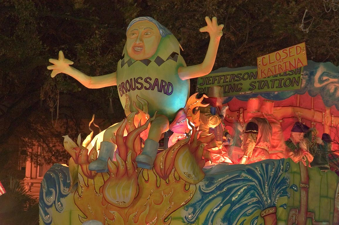 "Bruassard"" float of krewe of Chaos at Mardi Gras...Charles Ave.. New Orleans, Louisiana"