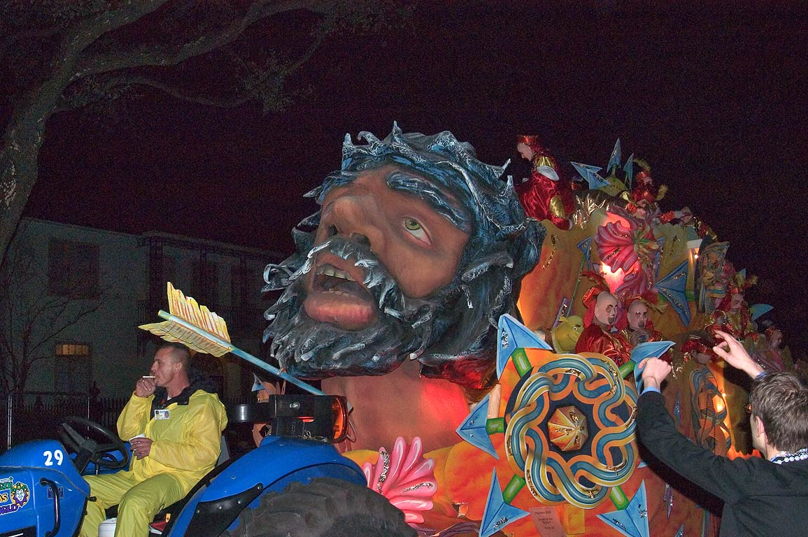 Mardi Gras float of krewe of Hermes at parade on St.Charles Ave.. New Orleans, Louisiana