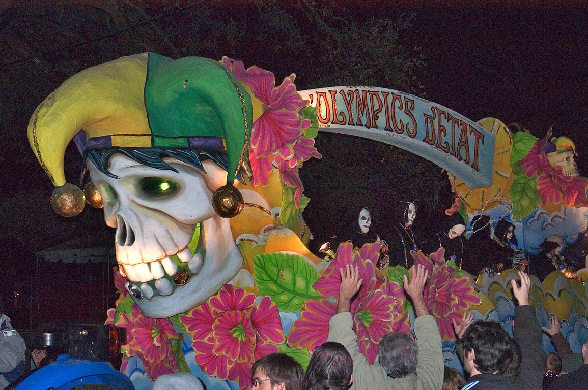 "Olympics D'Etat"" float of krewe of D'Etat at...Charles Ave.. New Orleans, Louisiana"