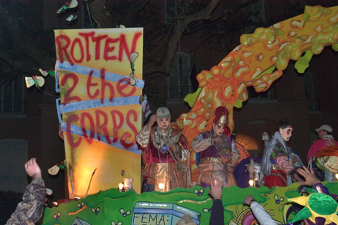 "Rotten to the corps"" float of krewe of D'Etat at...Charles Ave.. New Orleans, Louisiana"