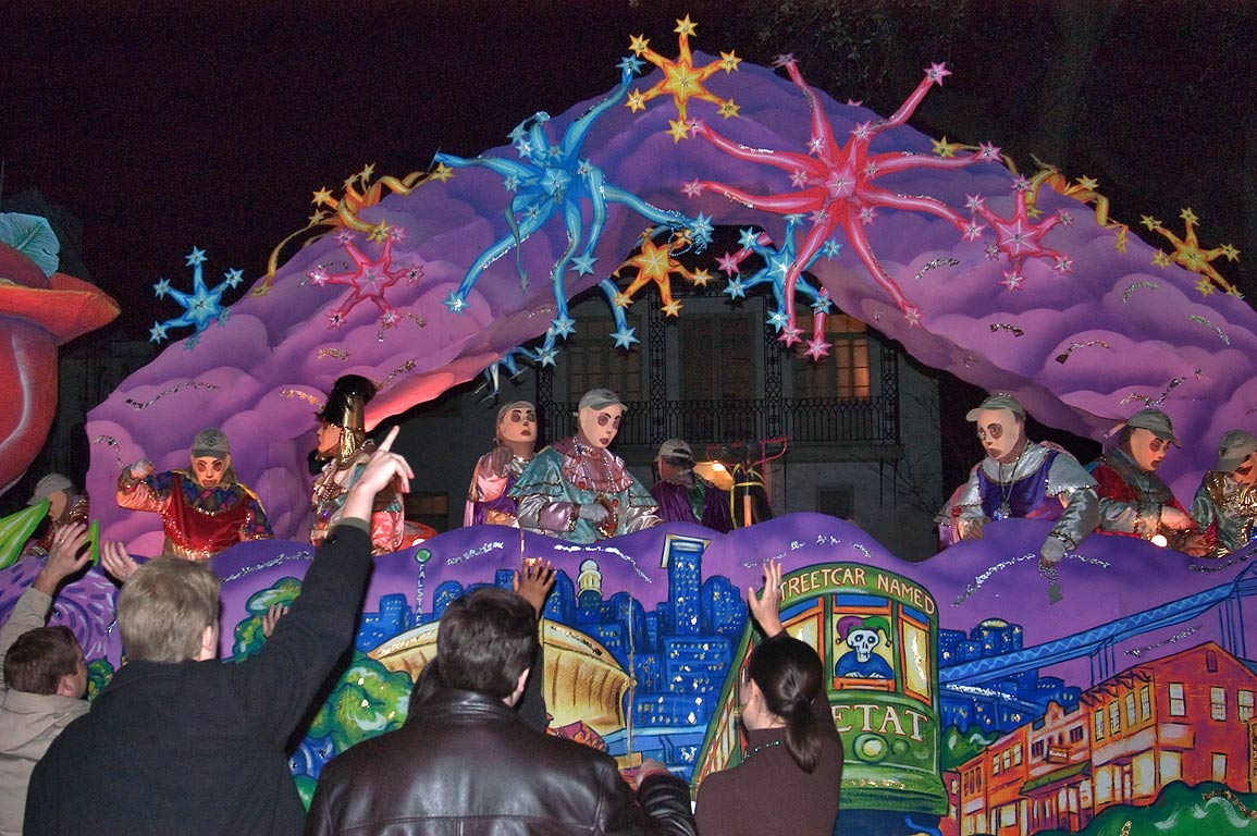 Decorations of Mold float of krewe of D'Etat at...Charles Ave.. New Orleans, Louisiana
