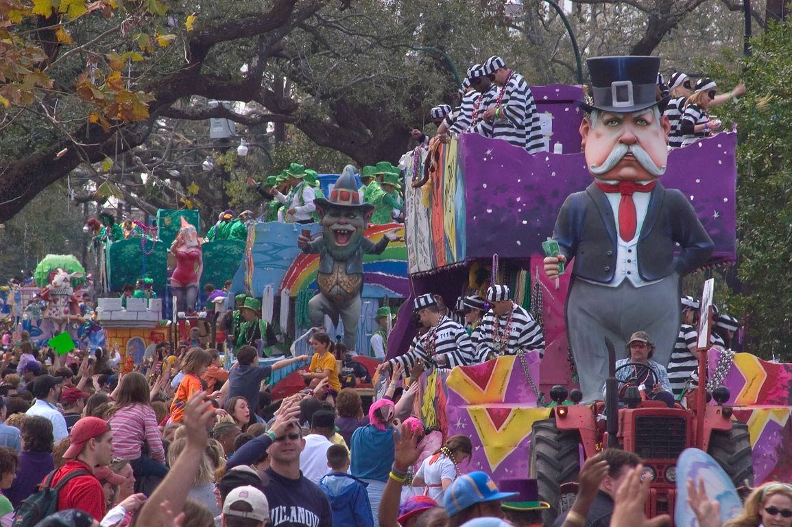 Procession of Mardi Gras floats of krewe of Tucks...Charles Ave.. New Orleans, Louisiana