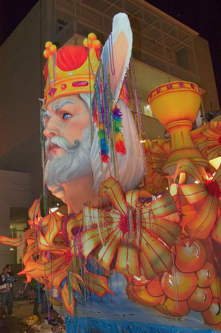 King float of krewe of Endymion at Mardi Gras...Charles Ave.. New Orleans, Louisiana