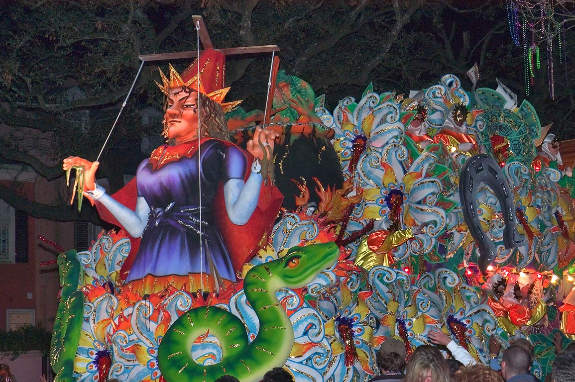 Puppet float of krewe of Orpheus at Mardi Gras...Charles Ave.. New Orleans, Louisiana