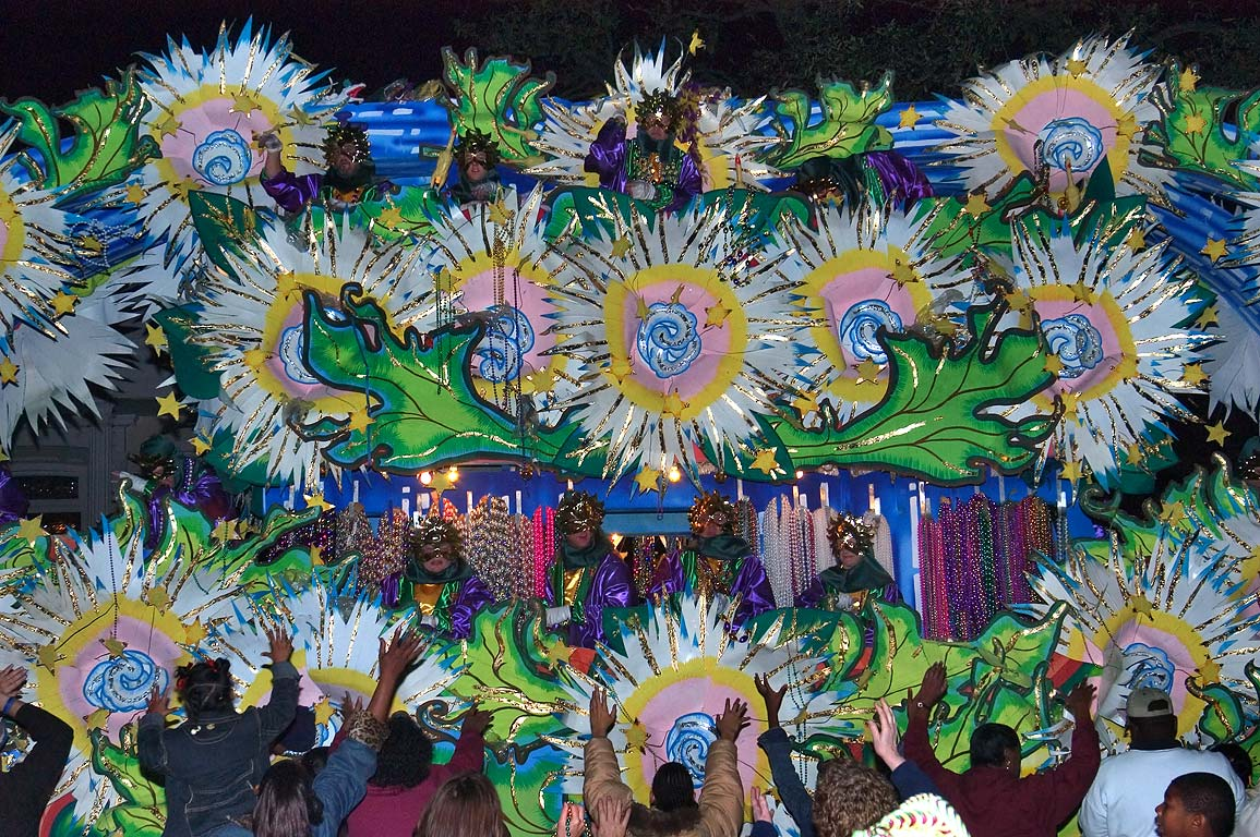 Decorations on a side of a float of krewe of...Charles Ave.. New Orleans, Louisiana