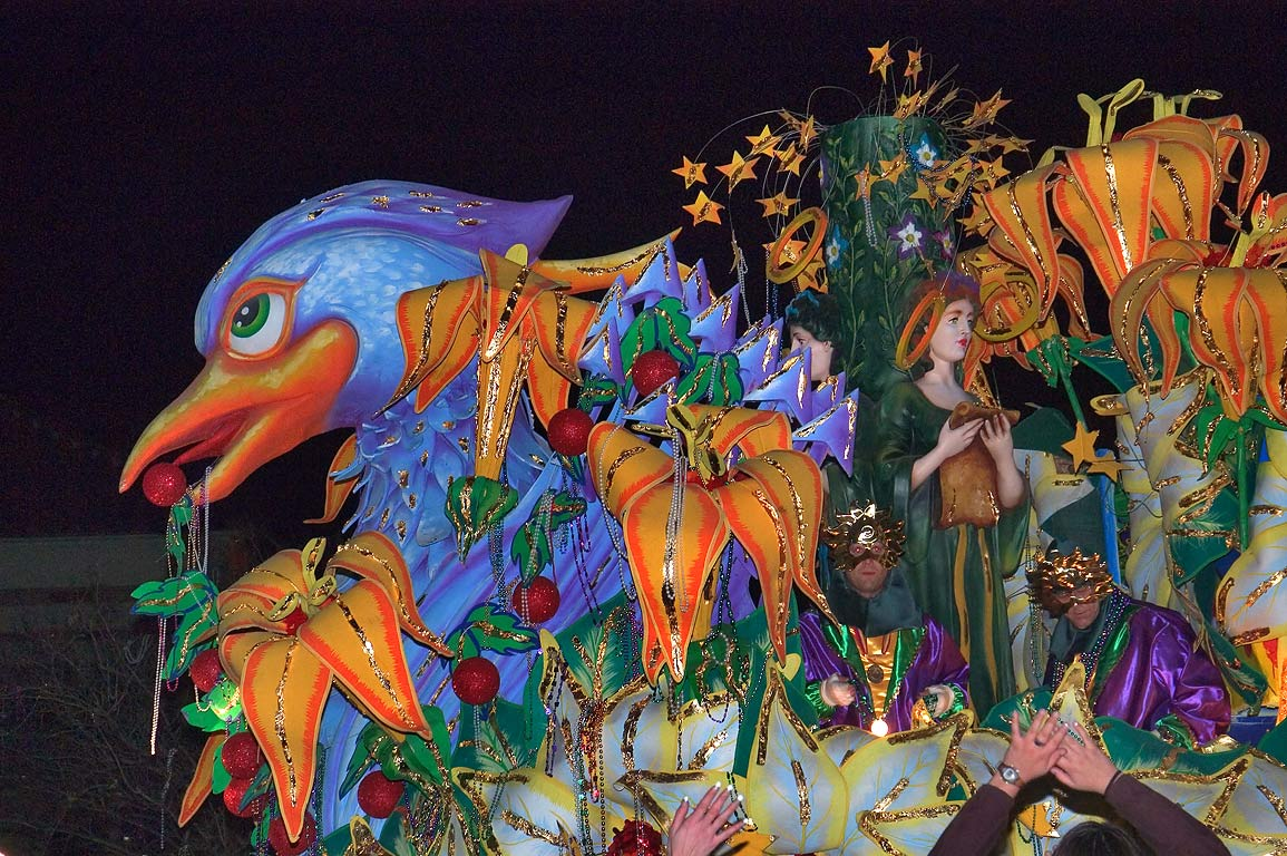 Blue bird float of krewe of Orpheus at Mardi Gras...Charles Ave.. New Orleans, Louisiana