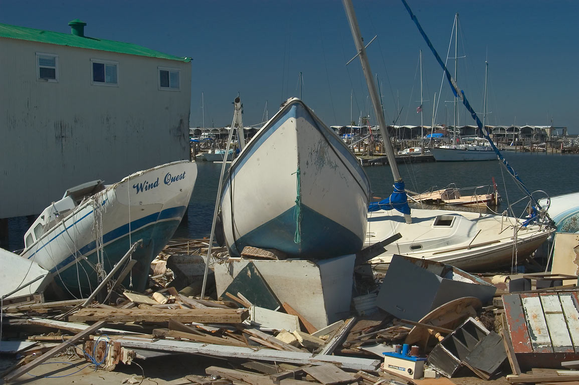 "Wind Quest"" and two other damaged yachts in West...Pontchartrain. New Orleans, Louisiana"
