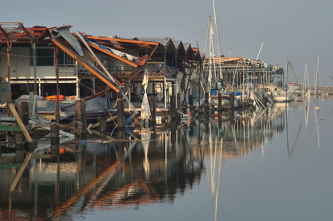 Boathouses in West End Marina at Lake...St. at morning. New Orleans, Louisiana
