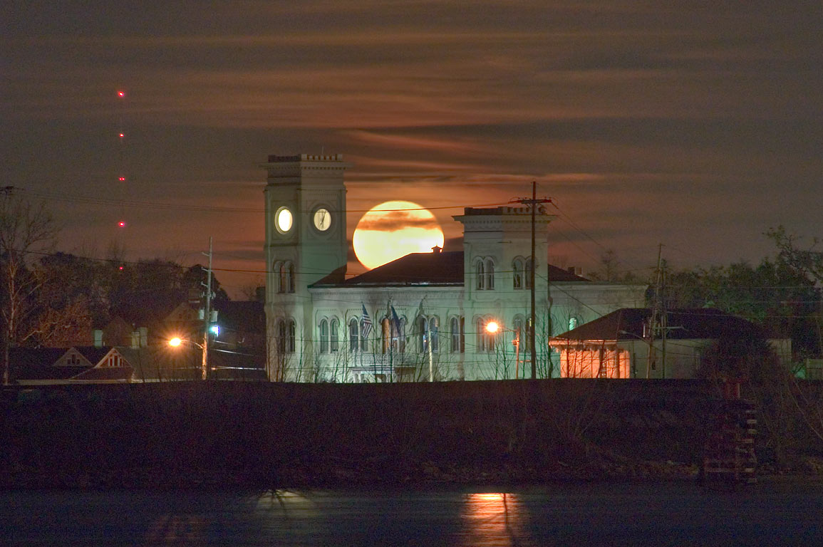 Moonrise over Algiers Court House, view across...from Moonwalk. New Orleans, Louisiana