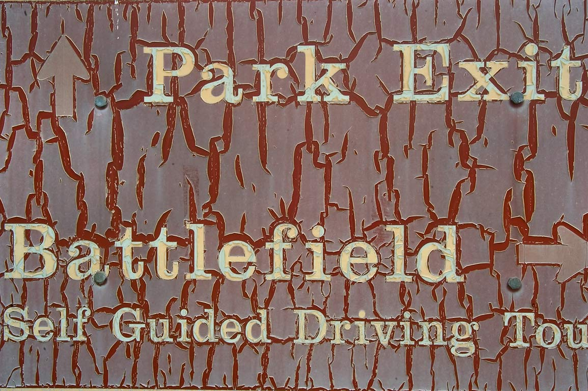 Park exit sign in Chalmette Battlefield. New Orleans, Louisiana