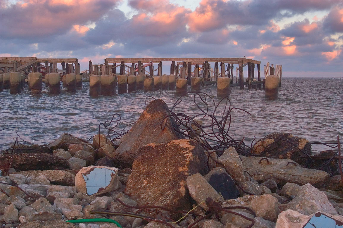Remains of seafood lakefront restaurants at Lake...Breakwater Dr.. New Orleans, Louisiana