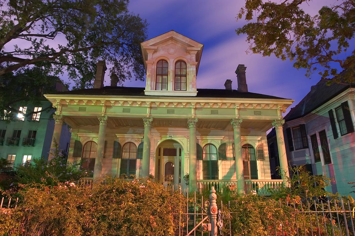 Hattie Thorn-Cecil Morgan cottage (1883) at 1435...St. at evening. New Orleans, Louisiana