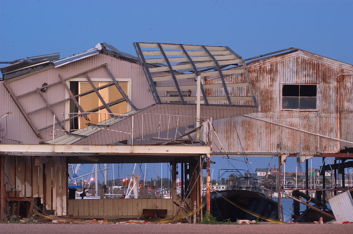 A damaged boathouse at 7820 Breakwater Dr. in...in West End. New Orleans, Louisiana