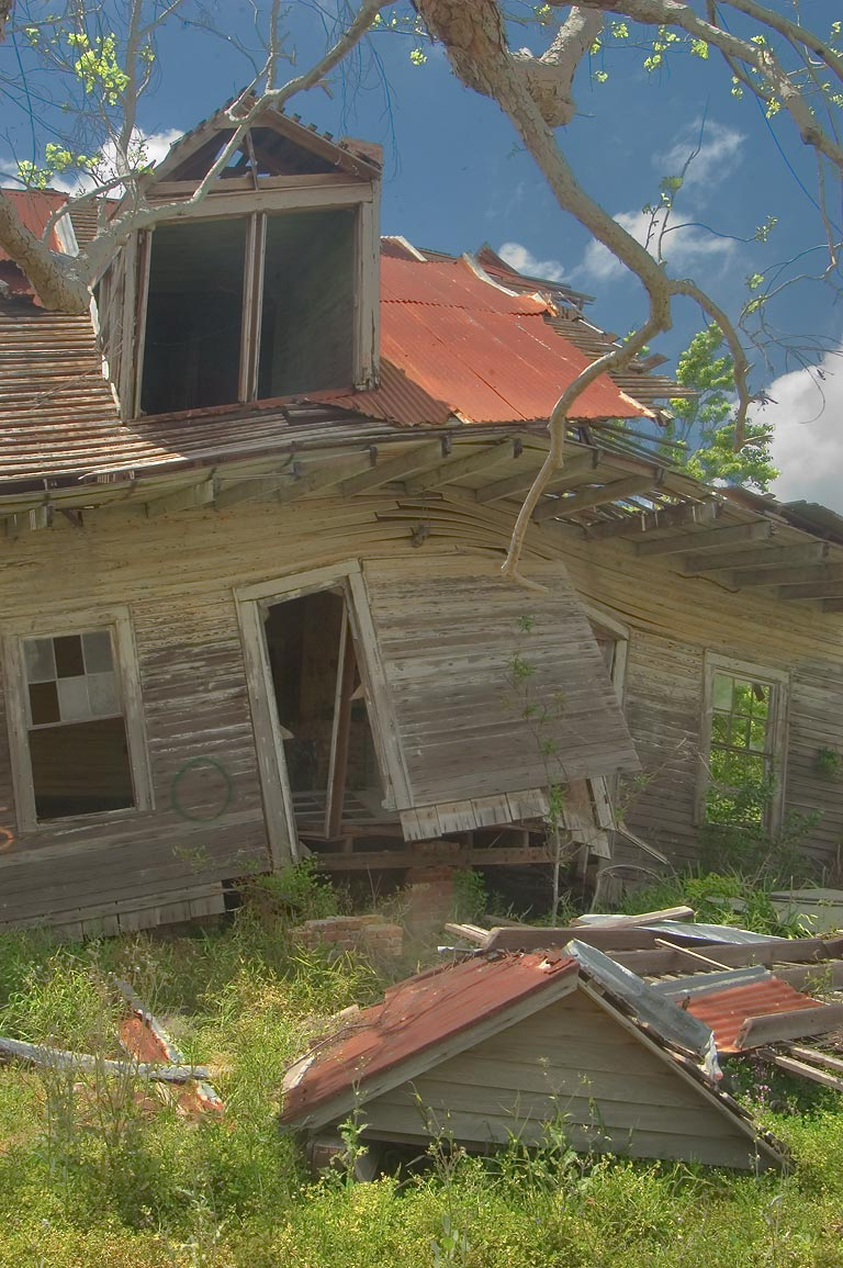 A damaged house at Rd. 11 in Nairn. Plaquemines Parish, Louisiana