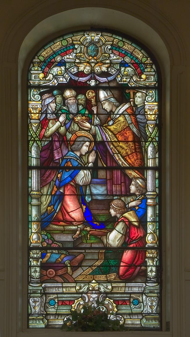 Stained glass window of St.Louis Cathedral in...of Louis IX. New Orleans, Louisiana