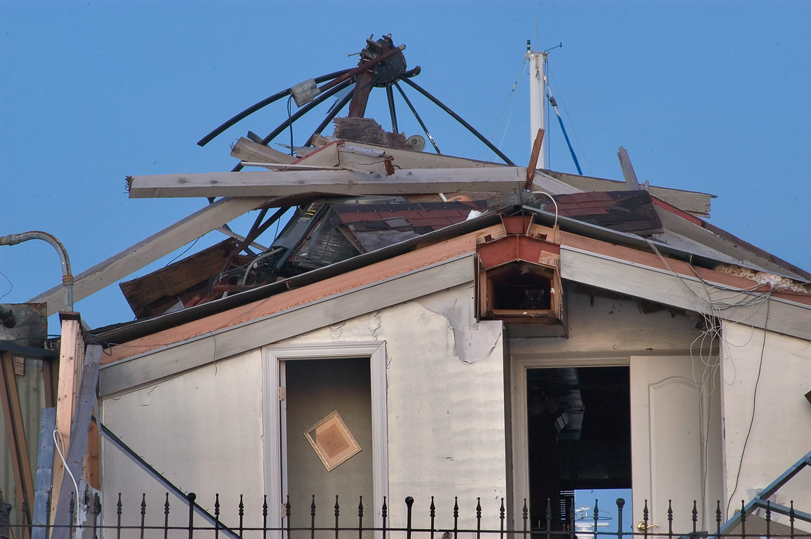 A damaged boathouse at Breakwater Dr. in West End. New Orleans, Louisiana