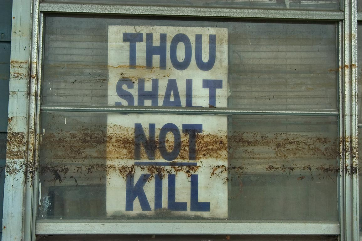 "An admonition ""Thou shalt not kill"" with...Ninth Ward. New Orleans, Louisiana"