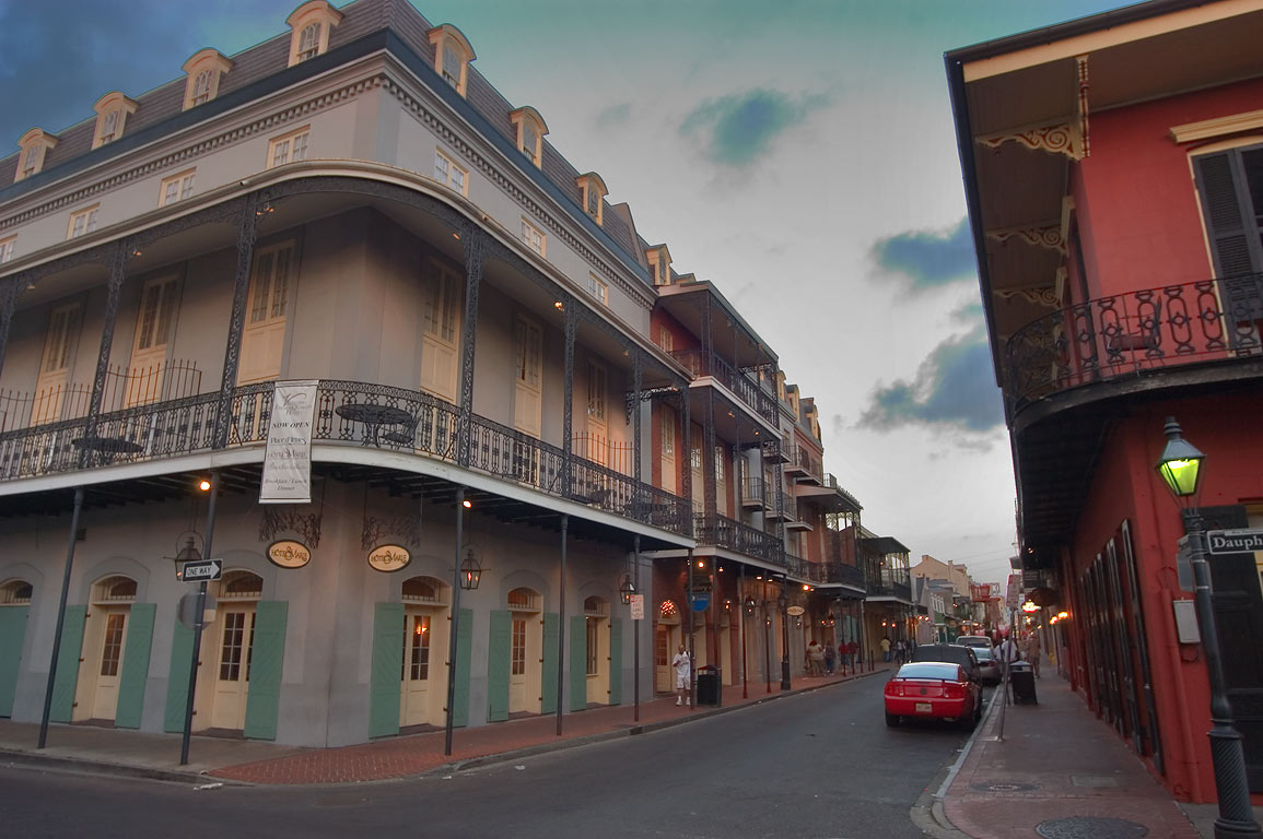A corner of Toulouse and Dauphine streets in French Quarter. New Orleans, Louisiana