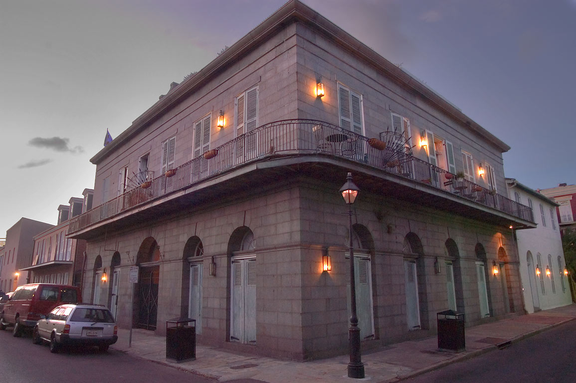 A corner of Burgundy and Barracks streets in French Quarter. New Orleans, Louisiana