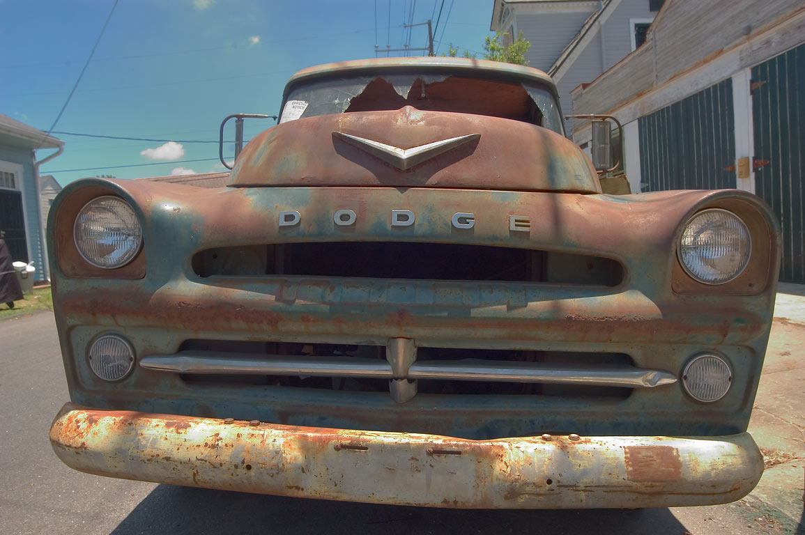 Rusty Dodge vintage 1957 car on Burgundy St. near...St. in Bywater. New Orleans, Louisiana