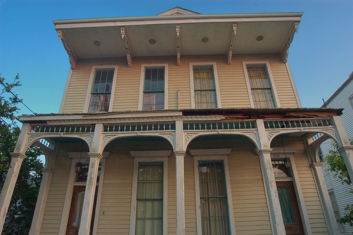 A house at 5230 -5232 Camp St., near Bellecastle St. in Uptown. New Orleans, Louisiana