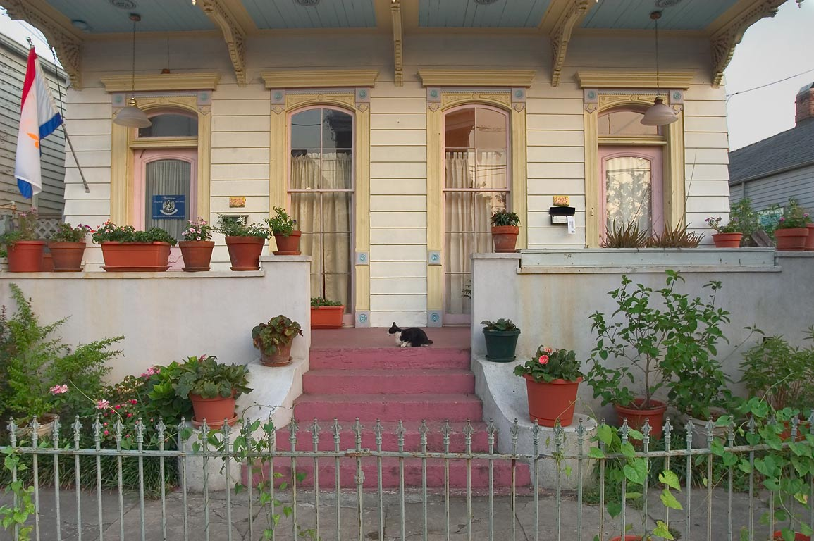 A cat on a porch at 2226 Royal St. near Faubourg...Marigny. New Orleans, Louisiana