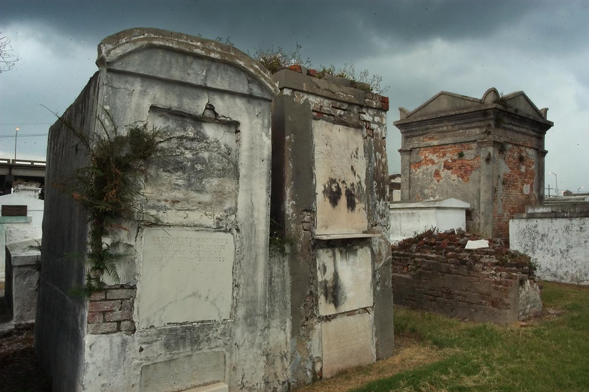 Row of tombs in St.Louis Cemetery No. 2. New Orleans, Louisiana