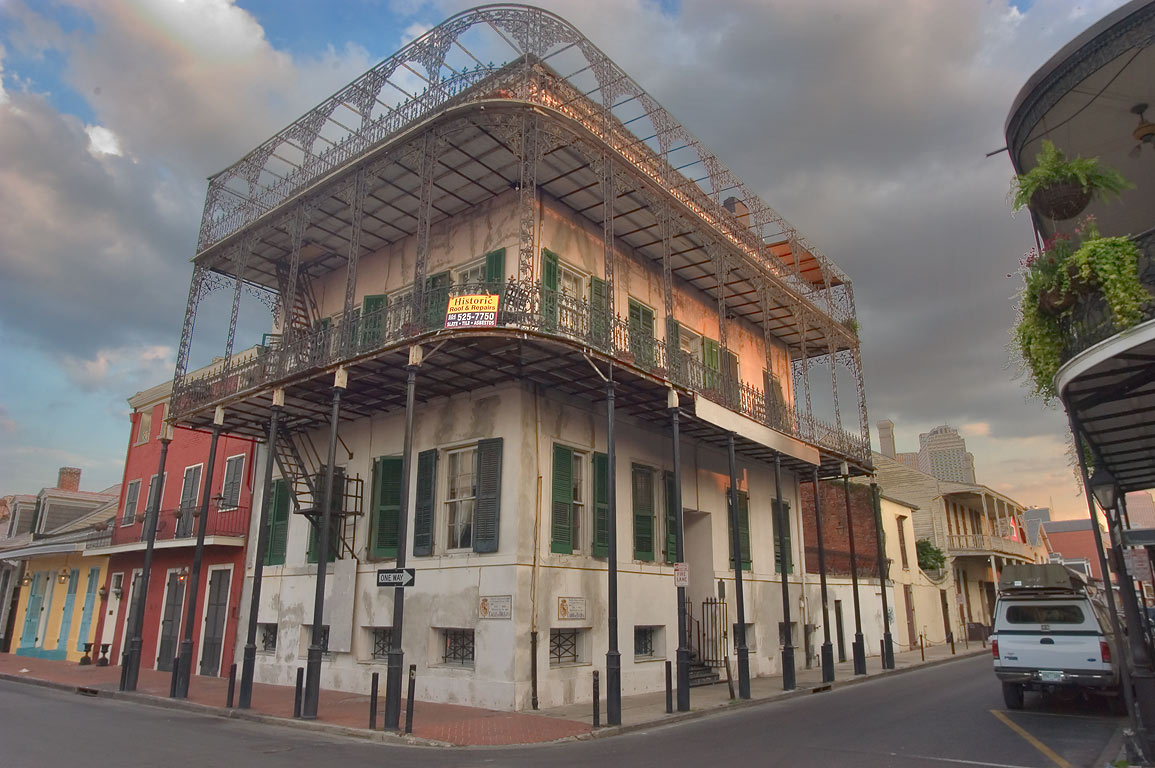 Gardette-LaPretre House (1836) with iron wrought...French Quarter. New Orleans, Louisiana