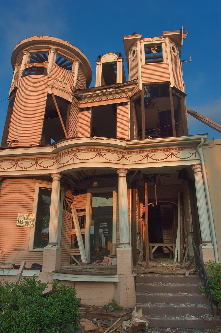 Ruins of a Victorian house with towers at 1508 St...Pelloat house). New Orleans, Louisiana