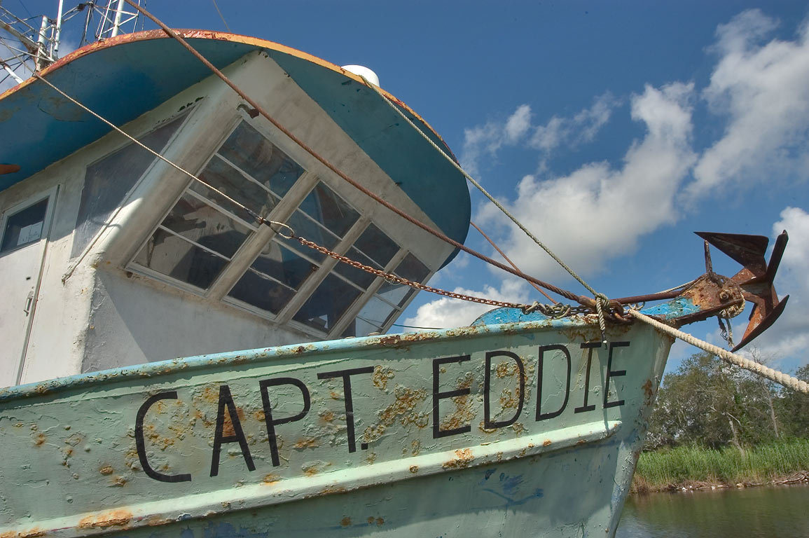 "Capt. Eddie"" fishing ship in Bayou Grand Caillou...Terrebonne Parish. Dulac, Louisiana"