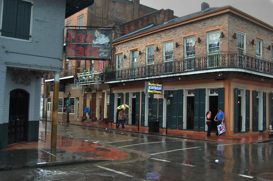 A corner of Bourbon and St.Louis streets in French Quarter at rain. New Orleans, Louisiana