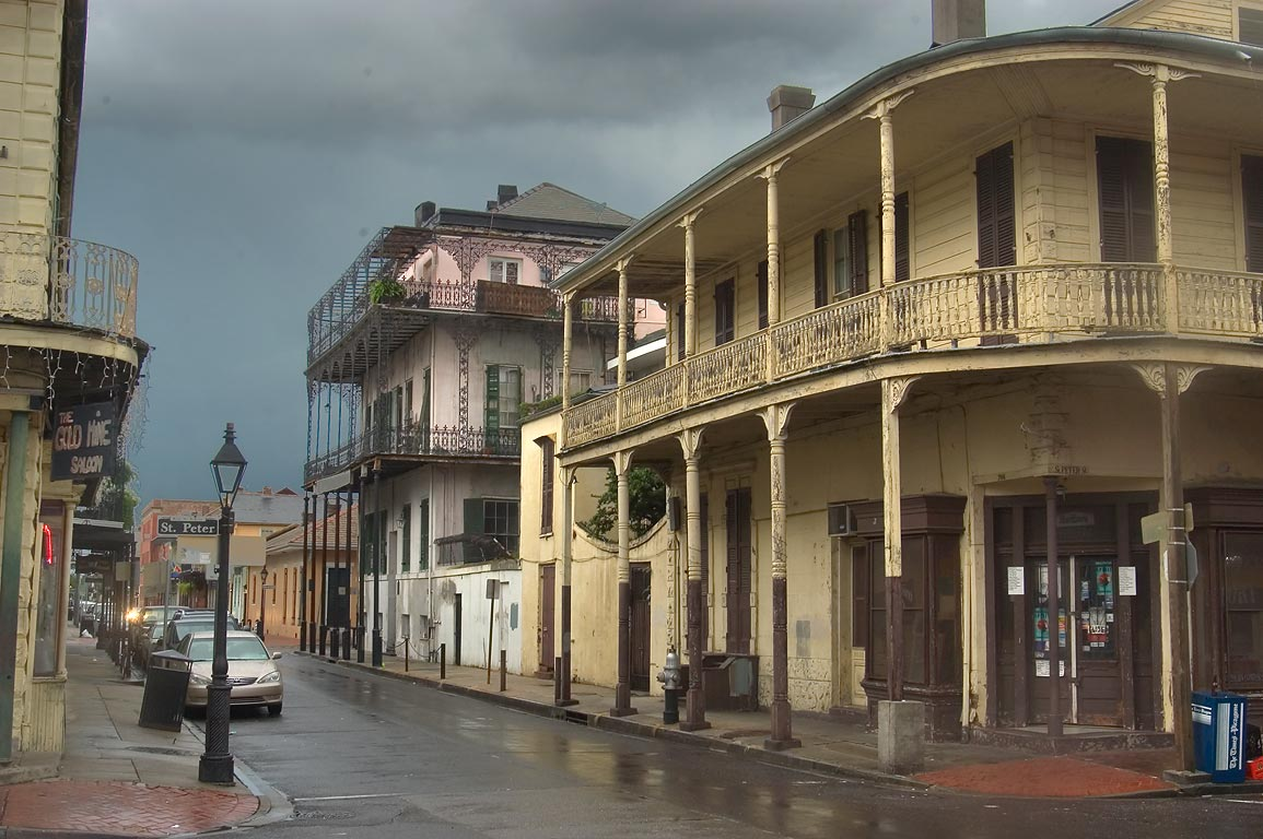 A corner of St.Peter and Dauphine streets in French Quarter. New Orleans, Louisiana