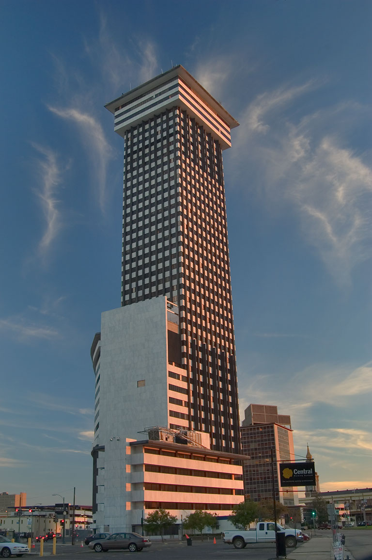 Plaza Tower from Loyola Ave. in Central Business District. New Orleans, Louisiana