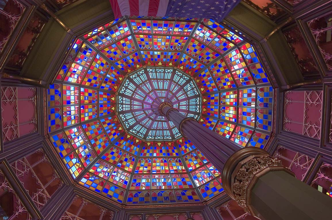 Stained glass dome of spider web shape in Old State Capitol. Baton Rouge, Louisiana