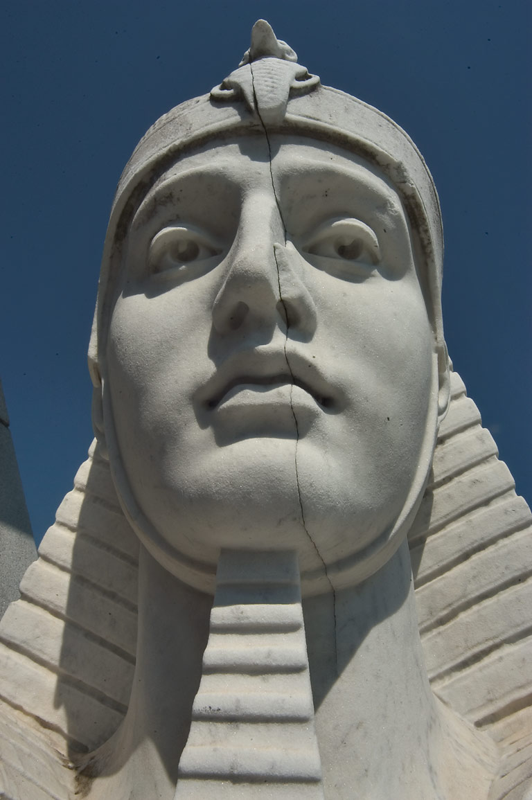 A sphinx face at a mausoleum of Brunswig in Metairie Cemetery. New Orleans, Louisiana