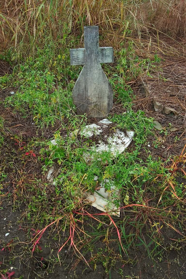 A small tomb with a wooden cross in Holt Cemetery. New Orleans, Louisiana