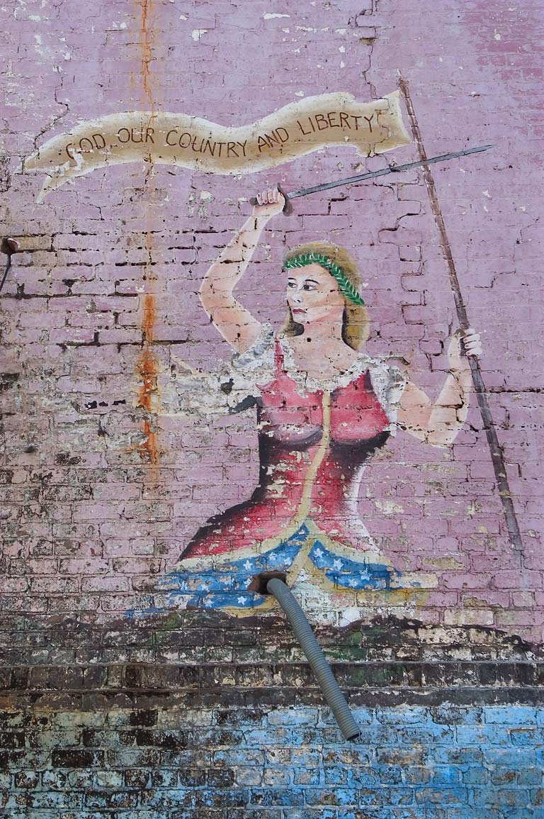 Joan of Arc on murals of prisoners on exterior of...Tulane Ave.. New Orleans, Louisiana