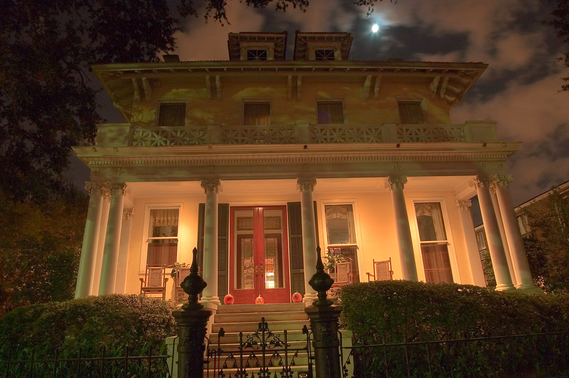 Hassinger, Blaffer Woods house at 2834 St.Charles...at evening. New Orleans, Louisiana