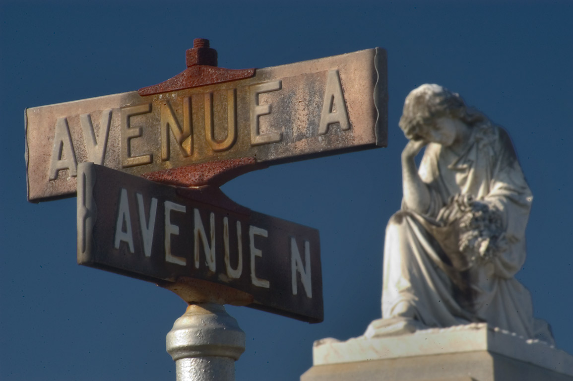 Crossing of avenues A and N in Metairie Cemetery. New Orleans, Louisiana