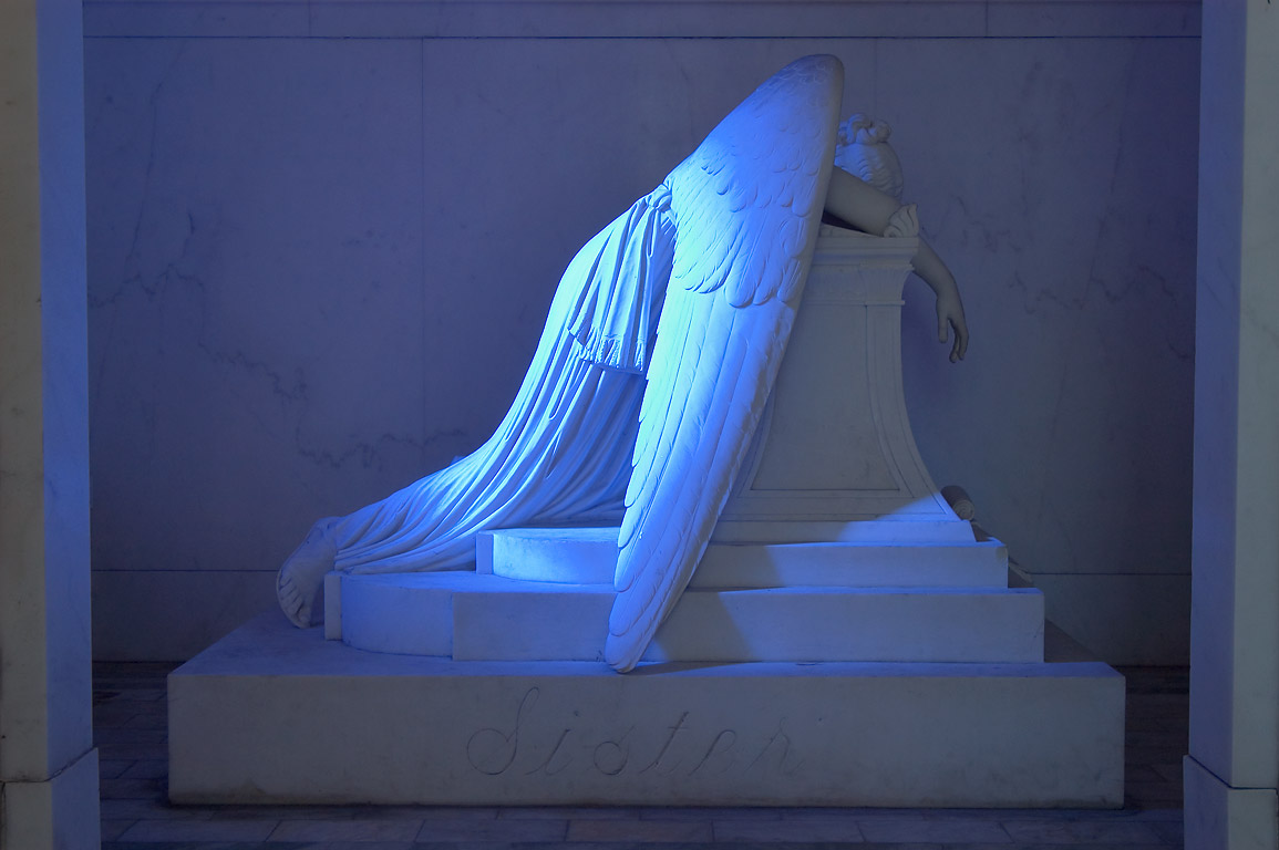 Weeping angel in a tomb of Chapman H. Hyams in Metairie Cemetery. New Orleans, Louisiana